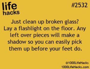 Broken glass on kitchen floors can be a dangerous for your tootsies. Use this tip to protect your families feet.